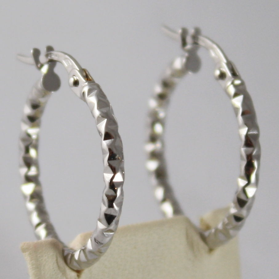 SOLID 18K WHITE GOLD CIRCLE EARRINGS HOOP, HAMMERED, DIAM 0.75 In, MADE IN ITALY