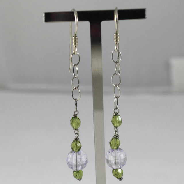 925 Silver Earrings Pendants with Crystals Green and Lilac