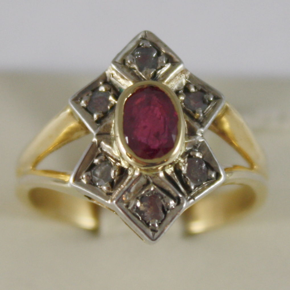 SOLID 18K YELLOW GOLD RING WITH RUBY CT .72 AND DIAMONDS OLD CUT MADE IN ITALY