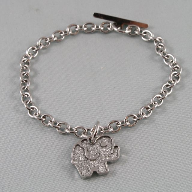 RHODIUM-PLATED BRONZE BRACELET WITH ELEPHANT PENDANT BY REBECCA MADE IN ITALY