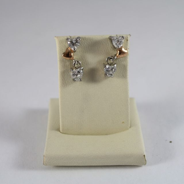 925 Silver Earrings with Gold Heart and Cubic Zirconia Heart-shaped