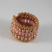 925 SILVER RING, ROSE GOLD PL, FACETED SALOMITE, MADE IN ITALY BY SAVOIA JEWELS.