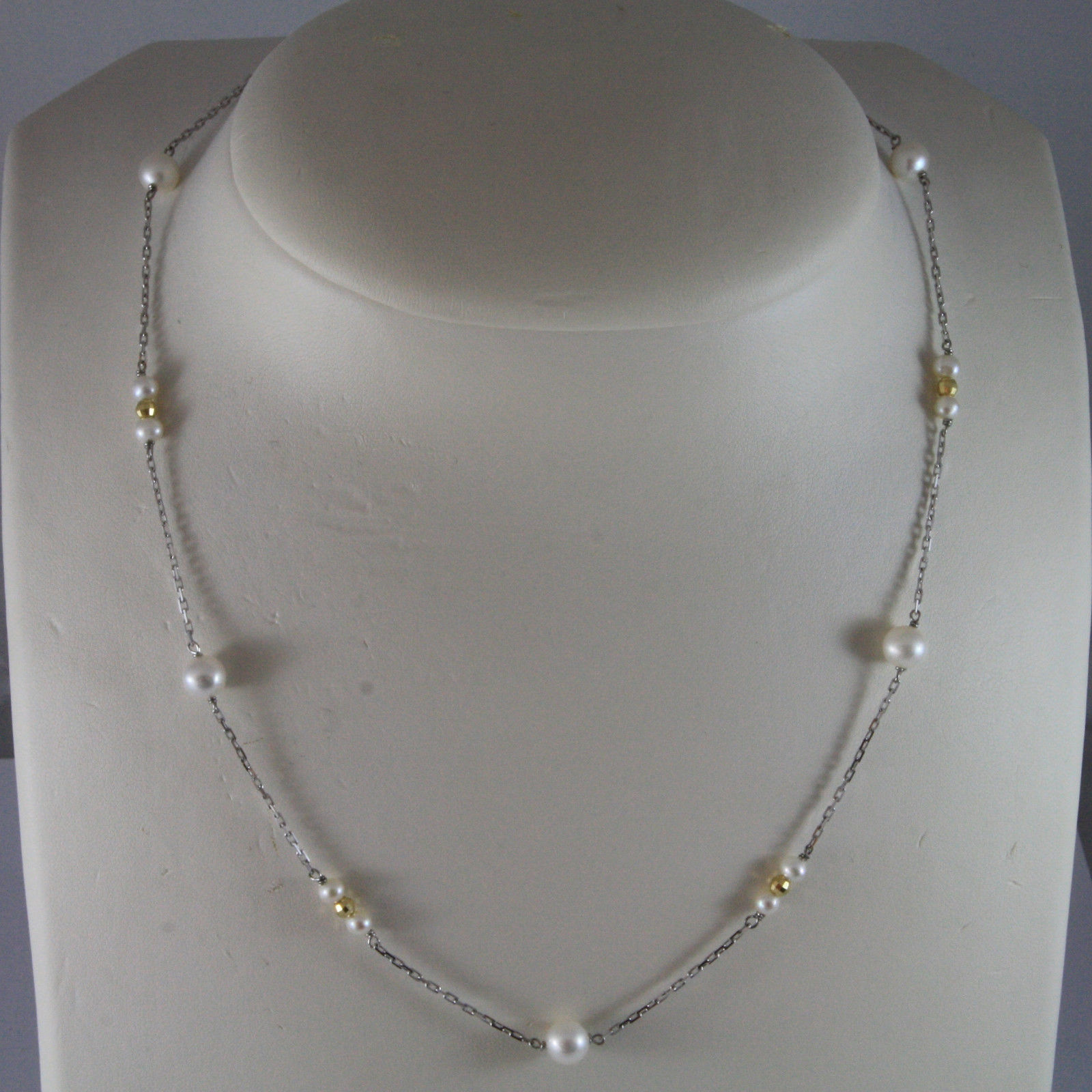 SOLID 18K WHITE GOLD NECKLACE WITH FRESHWATER WHITE PEARL AND YELLOW GOLD BALLS