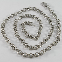 SOLID 18K WHITE GOLD CHAIN, NECKLACE, ROLO ROUND MESH, CIRCLE, MADE IN I... - $790.40