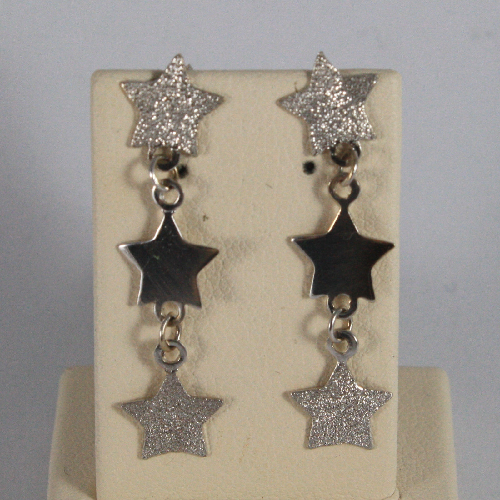 SOLID 18K WHITE GOLD EARRINGS, WITH POLISHED AND SATIN STARS, MADE IN ITALY