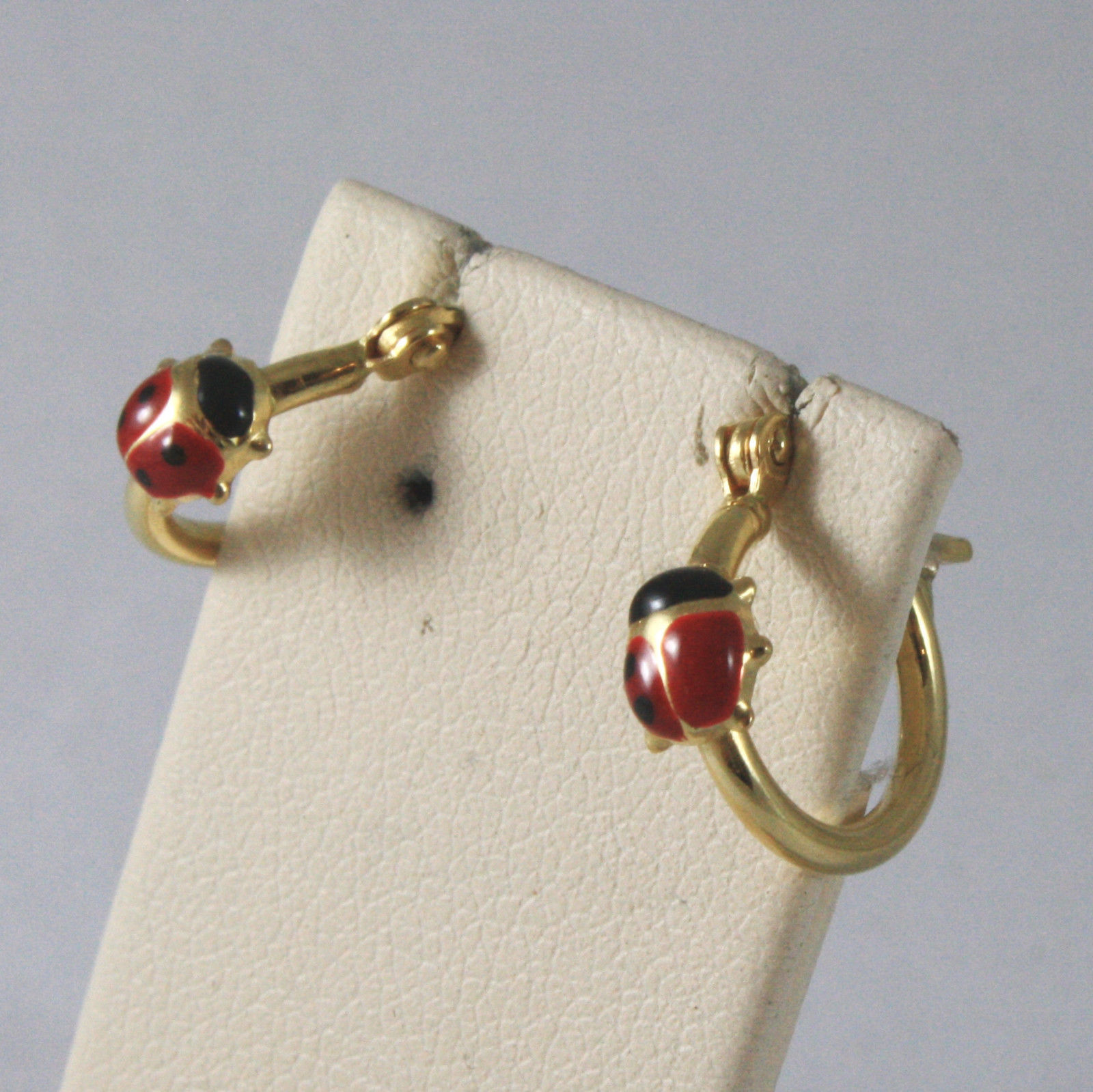 SOLID 18KT. YELLOW GOLD CIRCLE EARRINGS WITH LADYBIRDS MADE IN ITALY 18K