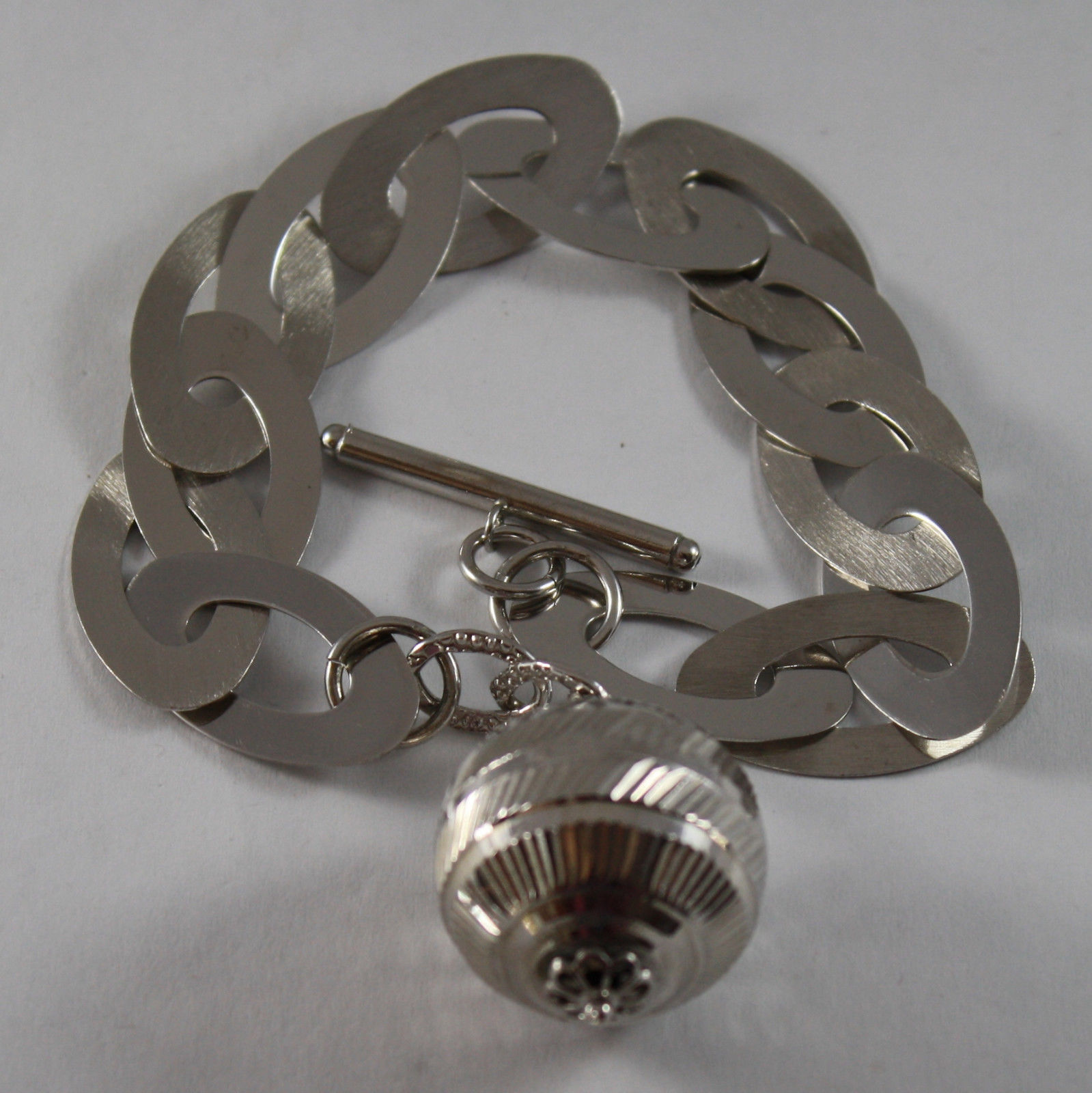 .925 RHODIUM SILVER BRACELET WITH OVAL MESH AND WORKED SPHERE