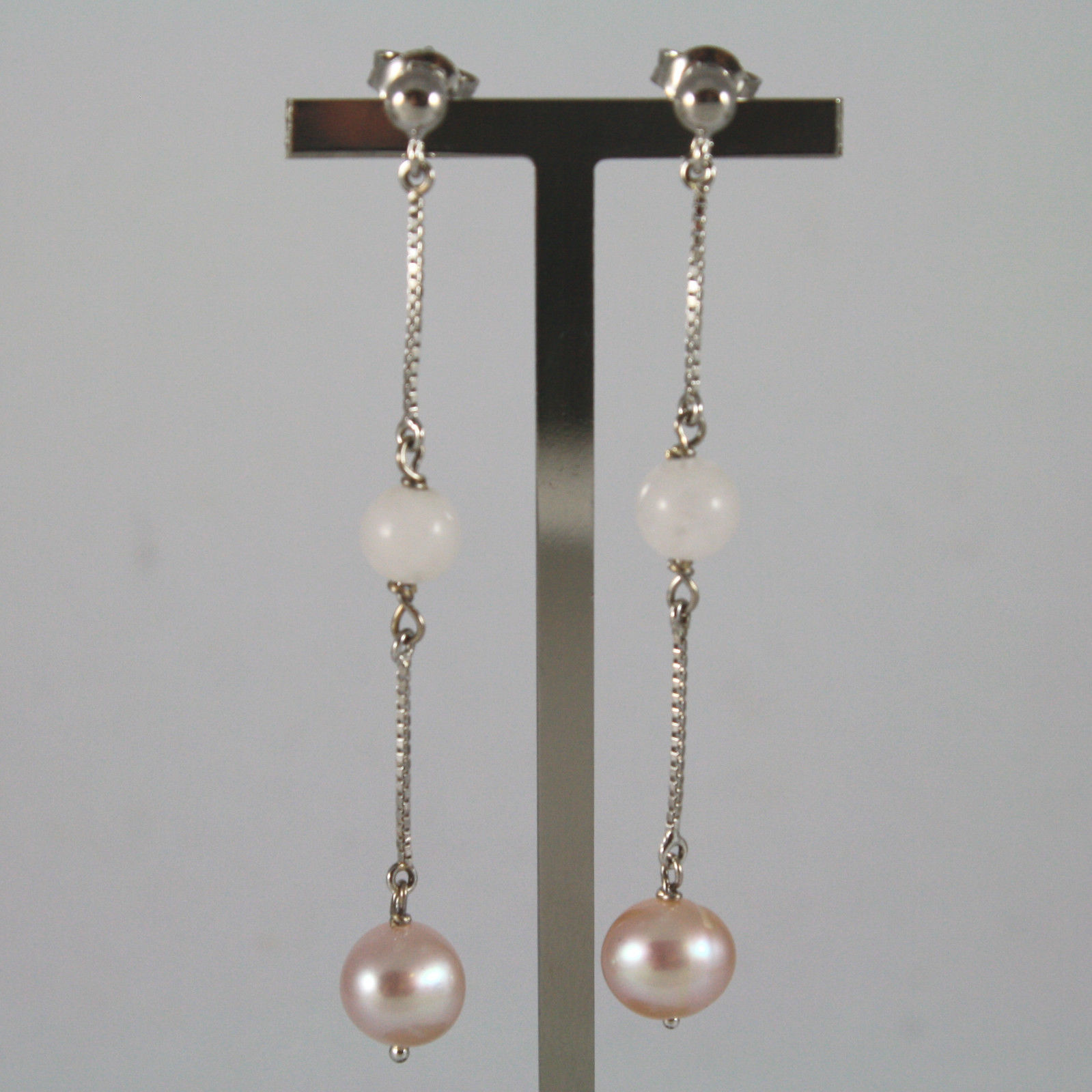 SOLID 18K WHITE GOLD EARRINGS, WITH PINK PEARL AND PINK QUARTZ,  MADE IN ITALY
