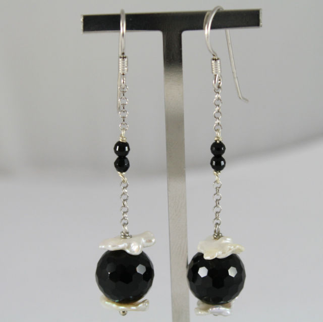 925 Silver Earrings Pendants with Black Onyx Spheres and Baroque Pearls