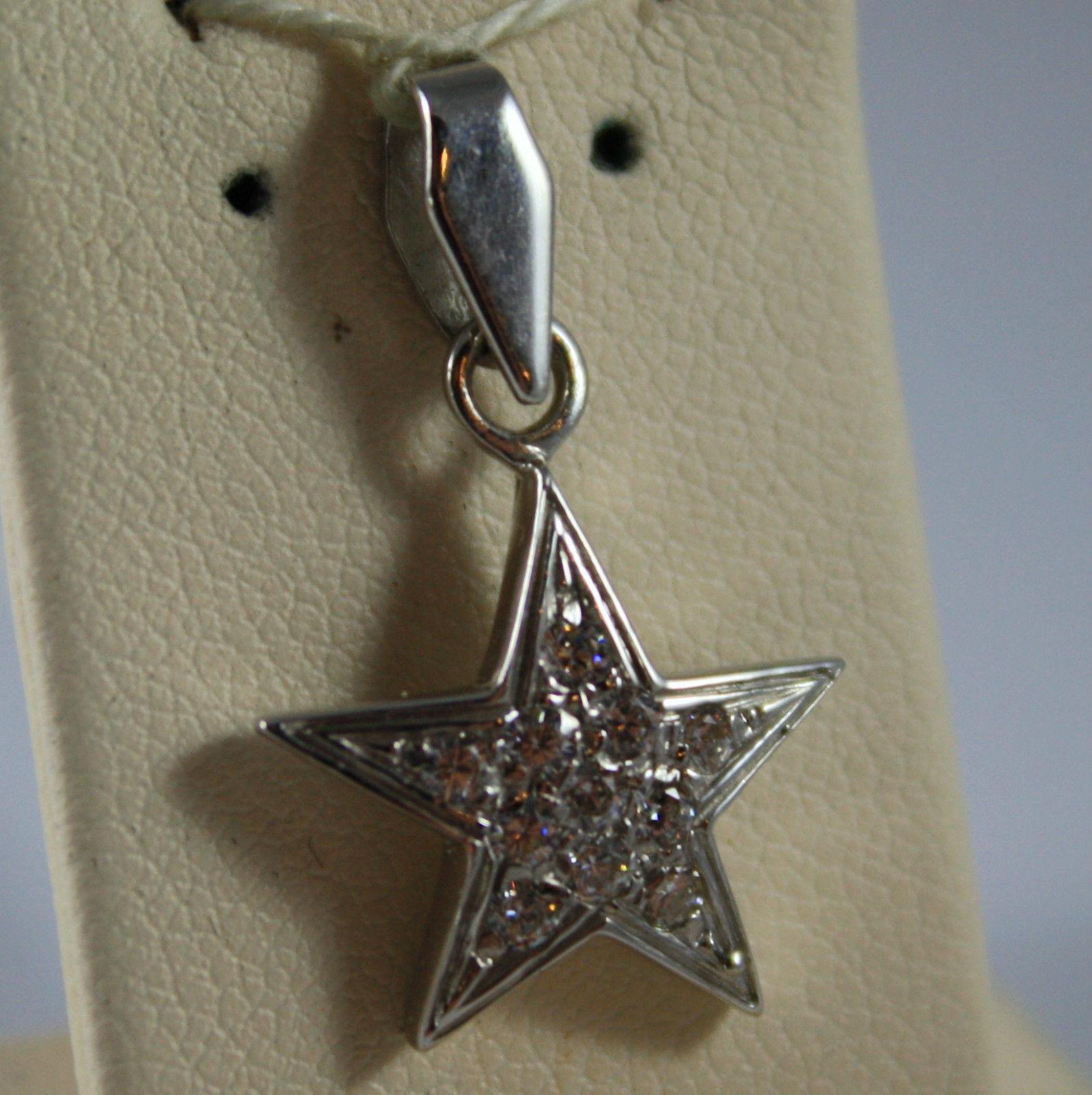 White Gold Pendant 750 18k, Pendant Star, with zirconia, 2.4 cm long