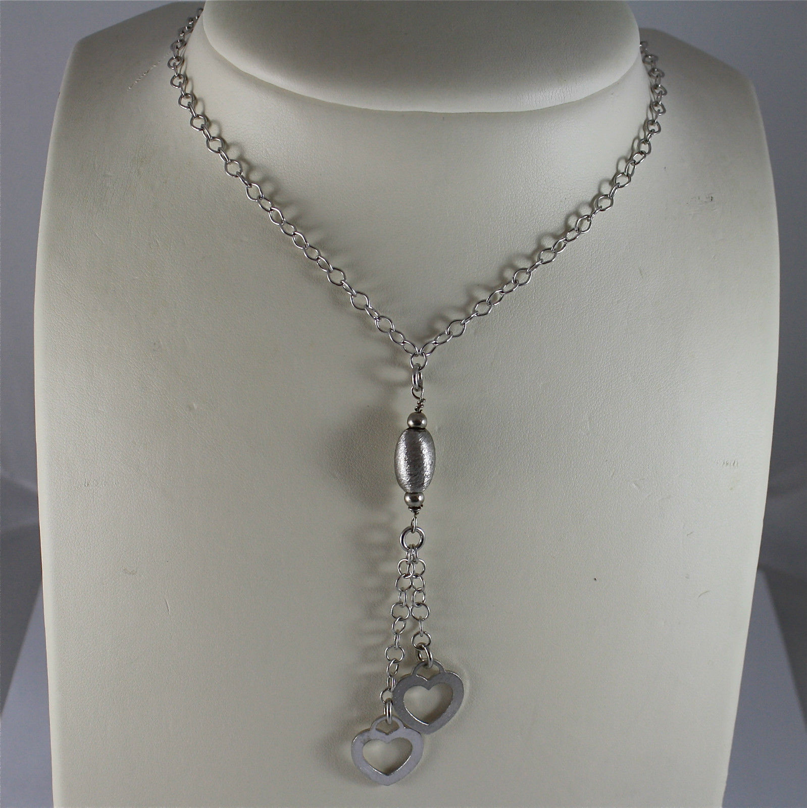 .925 RHODIUM SILVER NECKLACE, SCARF, ROUND MESH, SATIN OVAL CENTRAL, 2 HEARTS.
