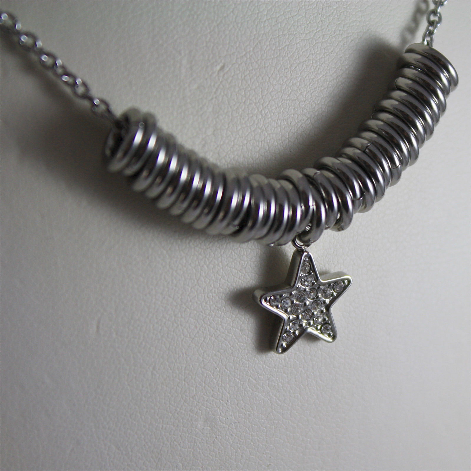 S'AGAPO' NECKLACE, 316L STEEL, STAR PENDANT, FACETED CRYSTAL.