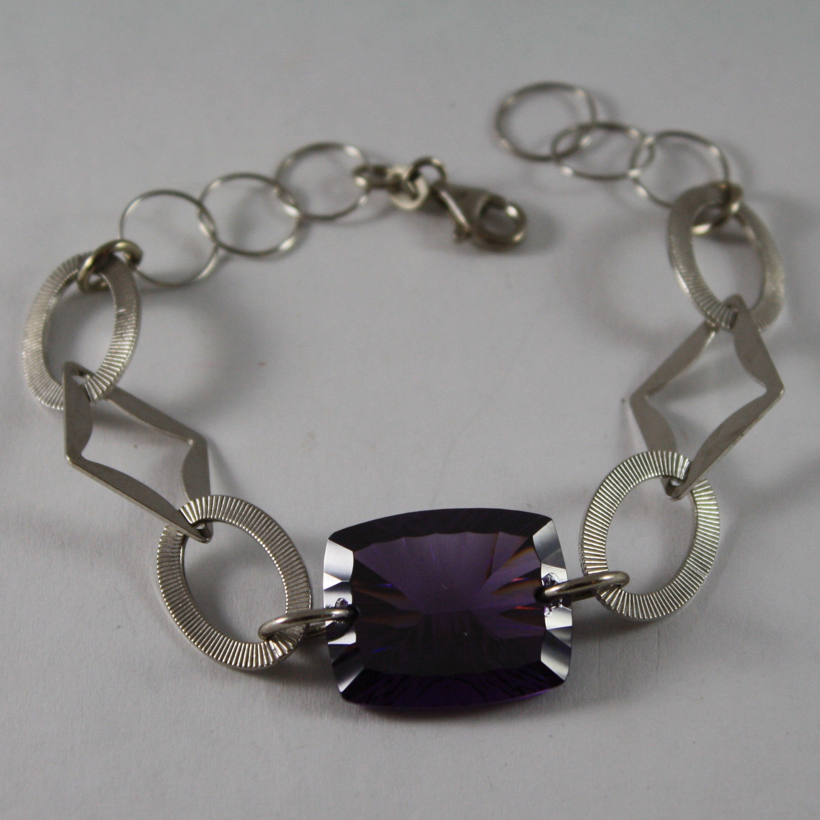 .925 RHODIUM BRACELET WITH PURPLE CRISTAL
