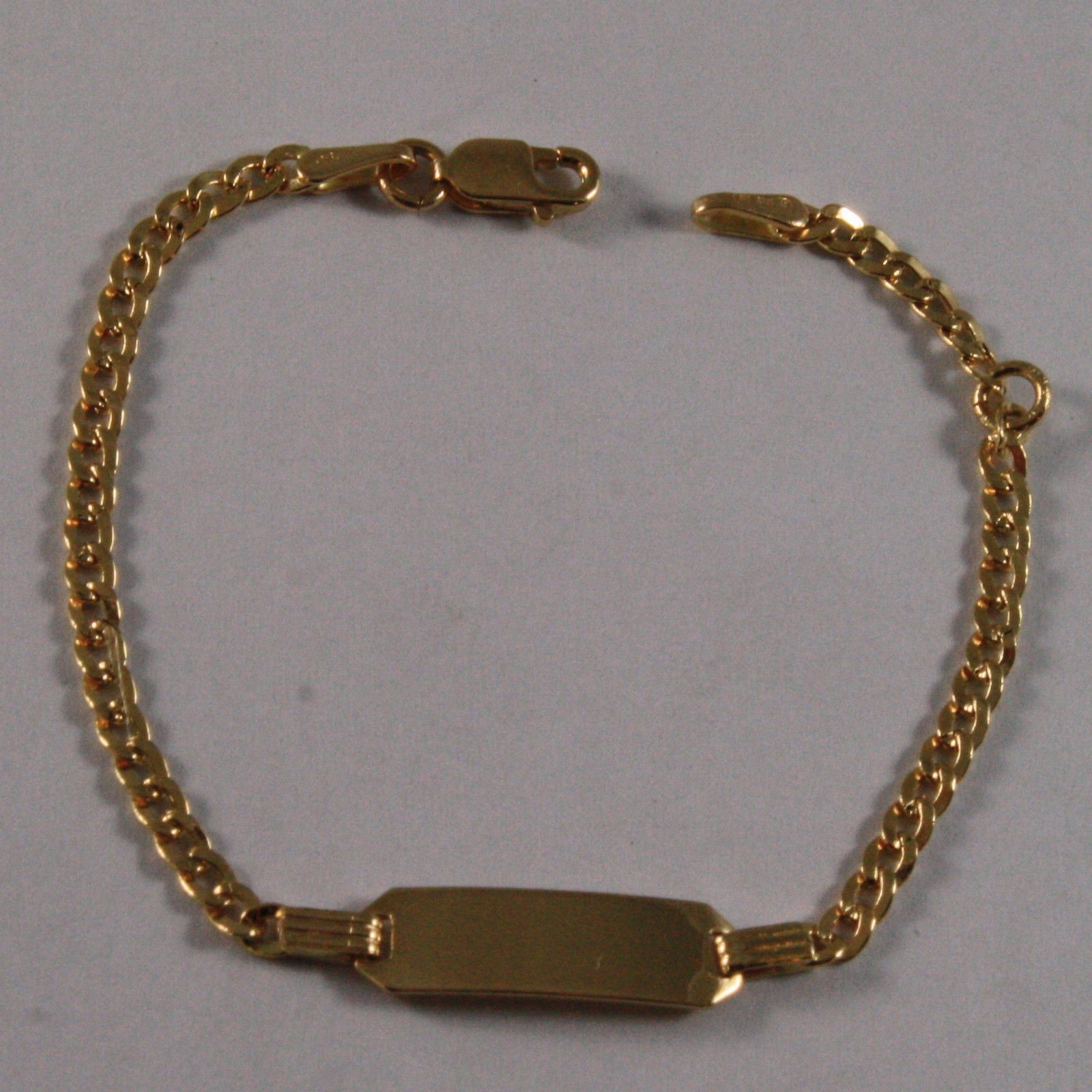 SOLID 18K YELLOW GOLD BRACELET, 5.51 INCHES, ENGRAVING CLASSIC PLATE, FOR CHILD.