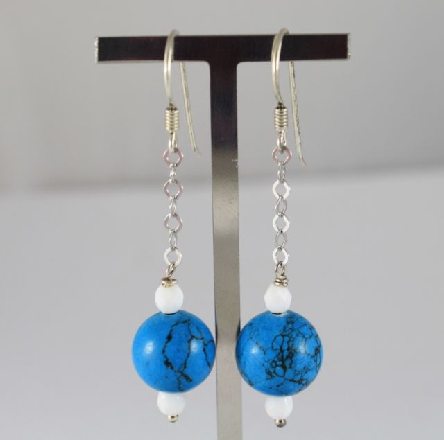 925 Silver Earrings Pendants with Turquoise paste and White Agate