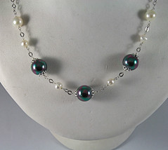 .925 SILVER RHODIUM NECKLACE WITH FRESHWATER WHITE PEARLS, 17.72 IN LENGHT image 2