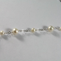 .925 SILVER RHODIUM NECKLACE WITH FRESHWATER WHITE PEARLS, 17.72 IN LENGHT image 4