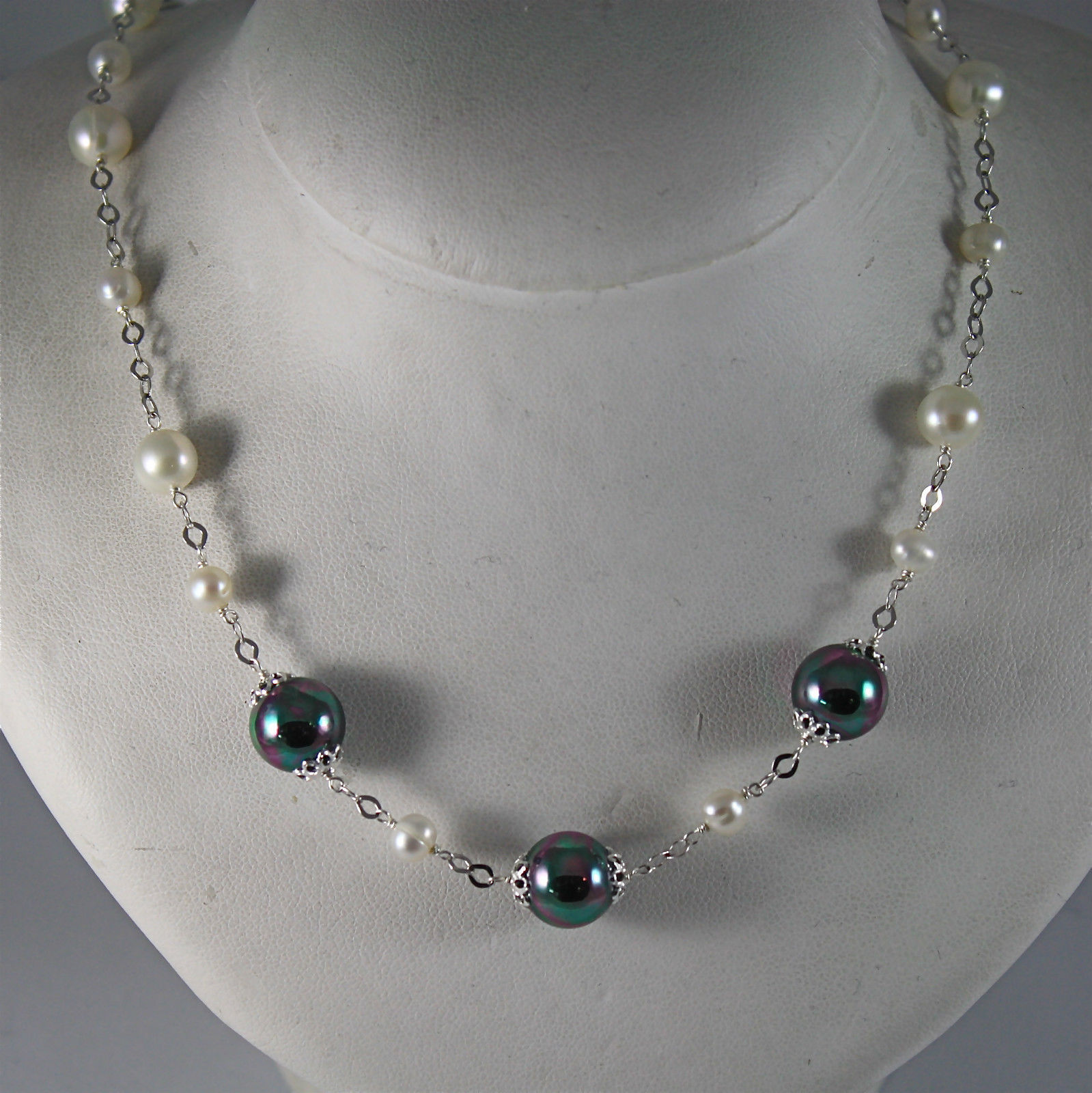 .925 SILVER RHODIUM NECKLACE WITH FRESHWATER WHITE PEARLS, 17.72 IN LENGHT