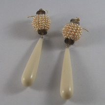 SOLID 18K YELLOW GOLD EARRINGS, WITH SMOKY QUARTZ, PEARLS AND BIG DROPS image 2