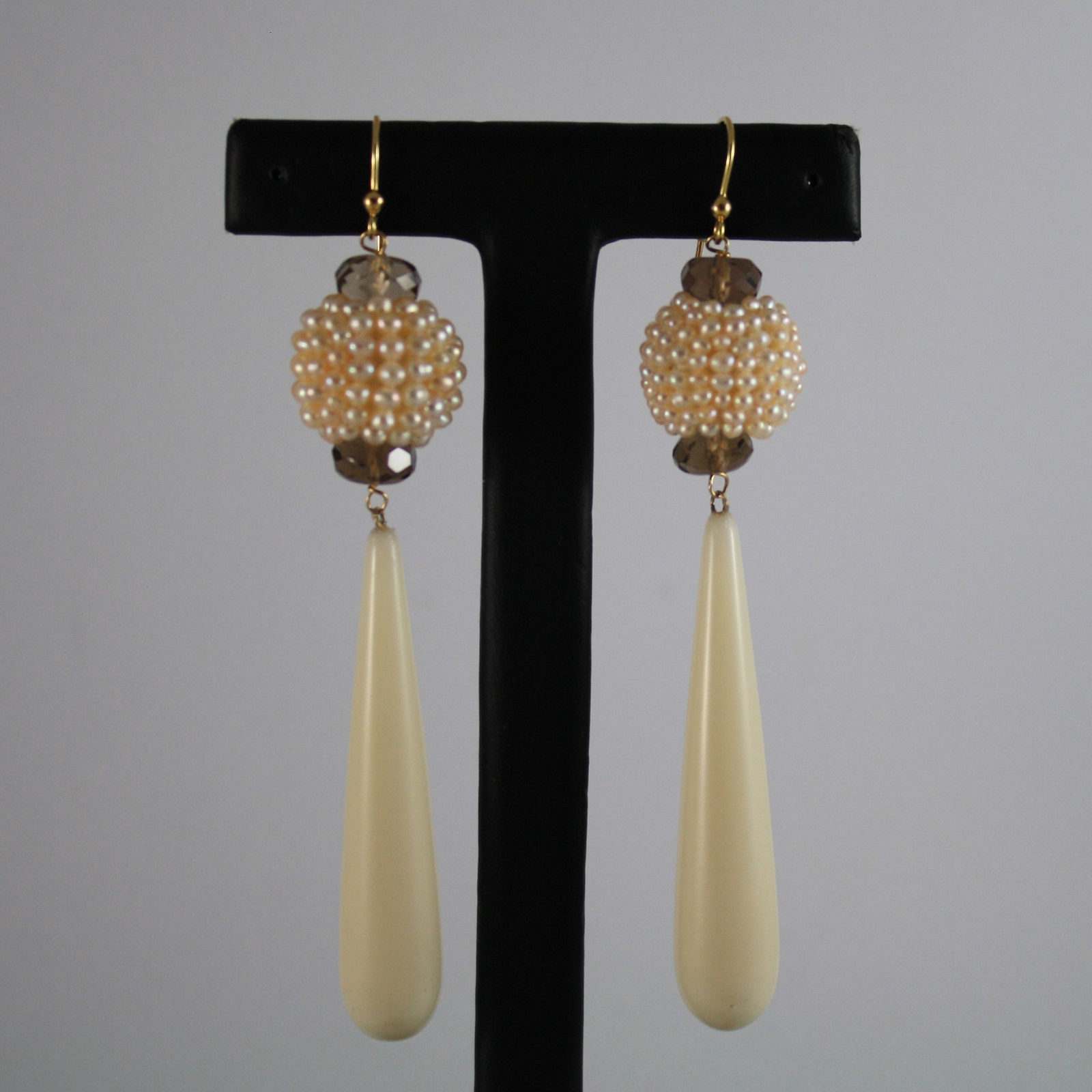 SOLID 18K YELLOW GOLD EARRINGS, WITH SMOKY QUARTZ, PEARLS AND BIG DROPS