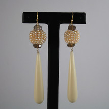 SOLID 18K YELLOW GOLD EARRINGS, WITH SMOKY QUARTZ,PEARLS AND VEGETABLE IVORY