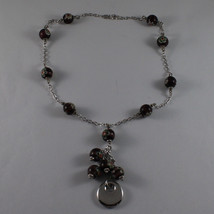 .925 SILVER RHODIUM NECKLACE WITH PURPLE MURRINE AND DISC PENDANT image 2