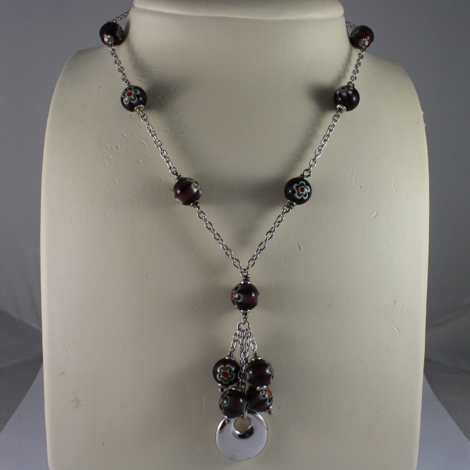 .925 SILVER RHODIUM NECKLACE WITH PURPLE MURRINE AND DISC PENDANT