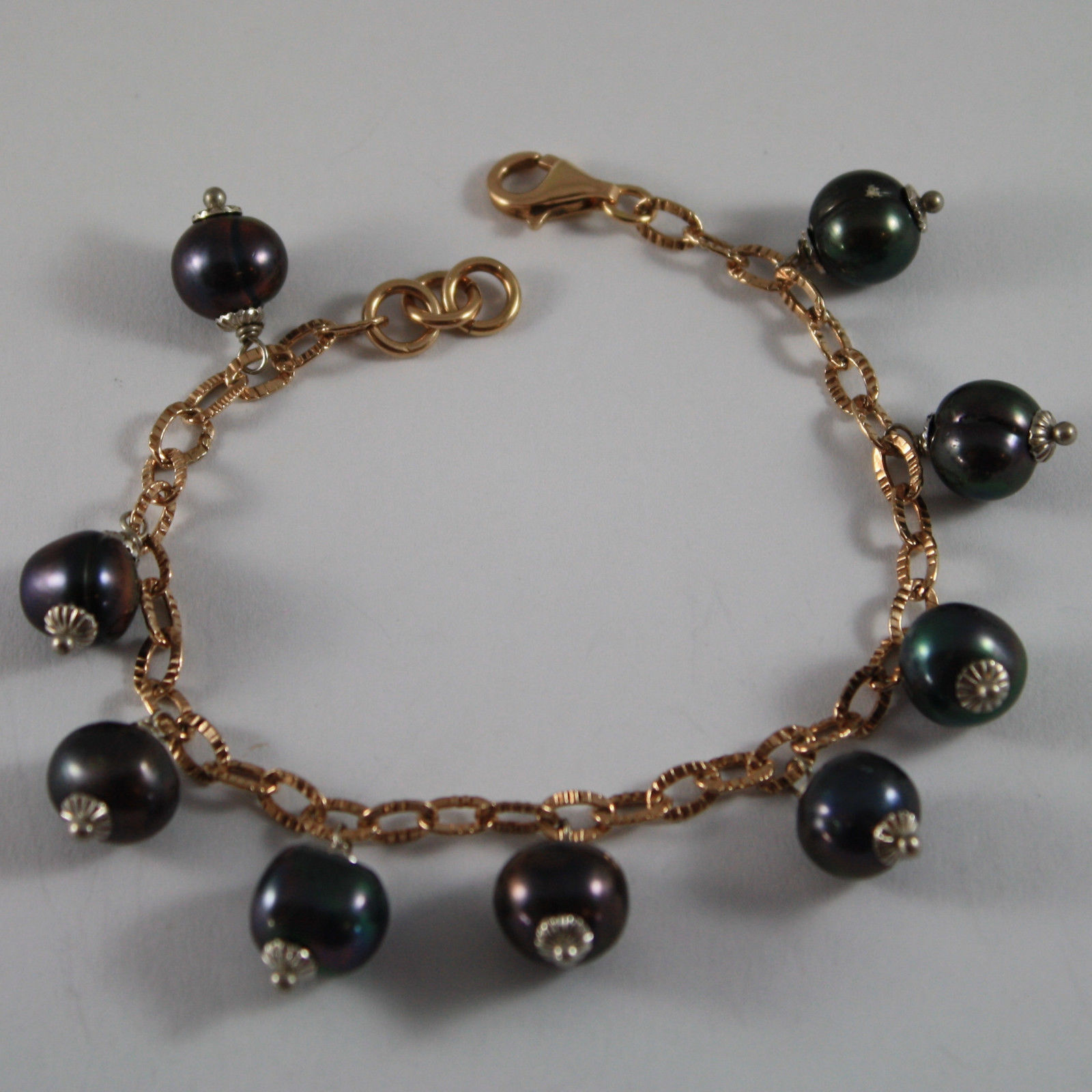 .925 RHODIUM SILVER ROSE GOLD PLATED BRACELET WITH BLUE PEARLS