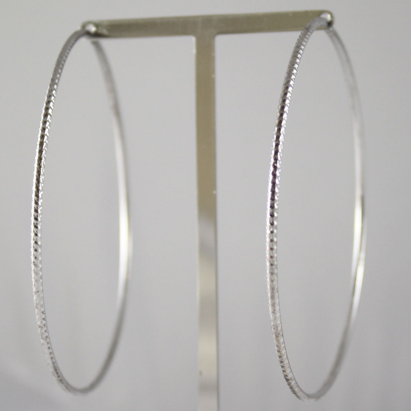 SOLID 18K WHITE GOLD CIRCLE EARRINGS HOOP, WORKED, DIAM 2.64 In, MADE IN ITALY