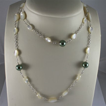 .925 RHODIUM SILVER NECKLACE, FACETED MOTHER-OF-PEARL, GREEN REBUILT PEARLS. image 3