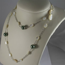 .925 RHODIUM SILVER NECKLACE, FACETED MOTHER-OF-PEARL, GREEN REBUILT PEARLS. image 4