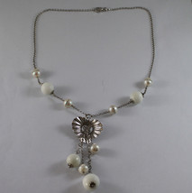 .925 SILVER RHODIUM NECKLACE WITH WHITE AGATE AND WHITE PEARLS WITH ZIRCONS image 2