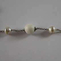 .925 SILVER RHODIUM NECKLACE WITH WHITE AGATE AND WHITE PEARLS WITH ZIRCONS image 4