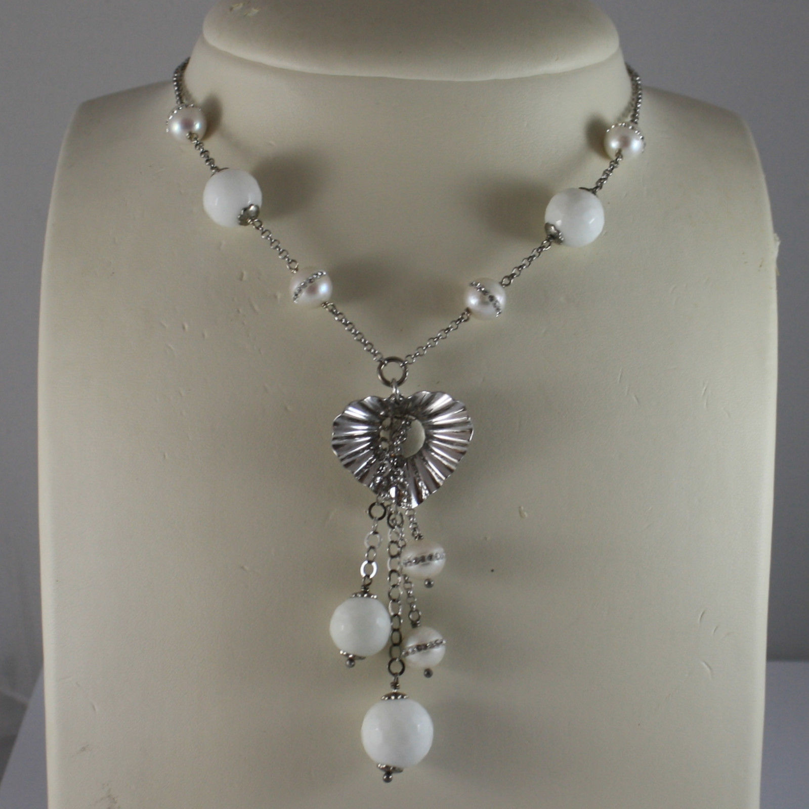 .925 SILVER RHODIUM NECKLACE WITH WHITE AGATE AND WHITE PEARLS WITH ZIRCONS