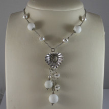 .925 SILVER RHODIUM NECKLACE WITH WHITE AGATE AND WHITE PEARLS WITH ZIRCONS image 1