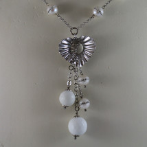 .925 SILVER RHODIUM NECKLACE WITH WHITE AGATE AND WHITE PEARLS WITH ZIRCONS image 3