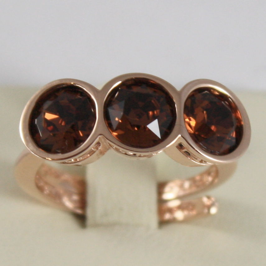 ROSE BRONZE REBECCA RING WITH ROUND BROWN CRYSTAL CT 3.00 TRILOGY MADE IN ITALY