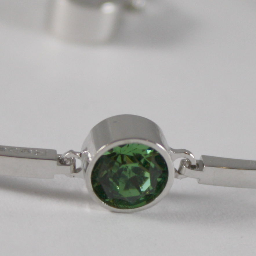 RHODIUM BRONZE REBECCA BRACELET SEMI RIGID WITH GREEN CRYSTAL CT 1 MADE IN ITALY