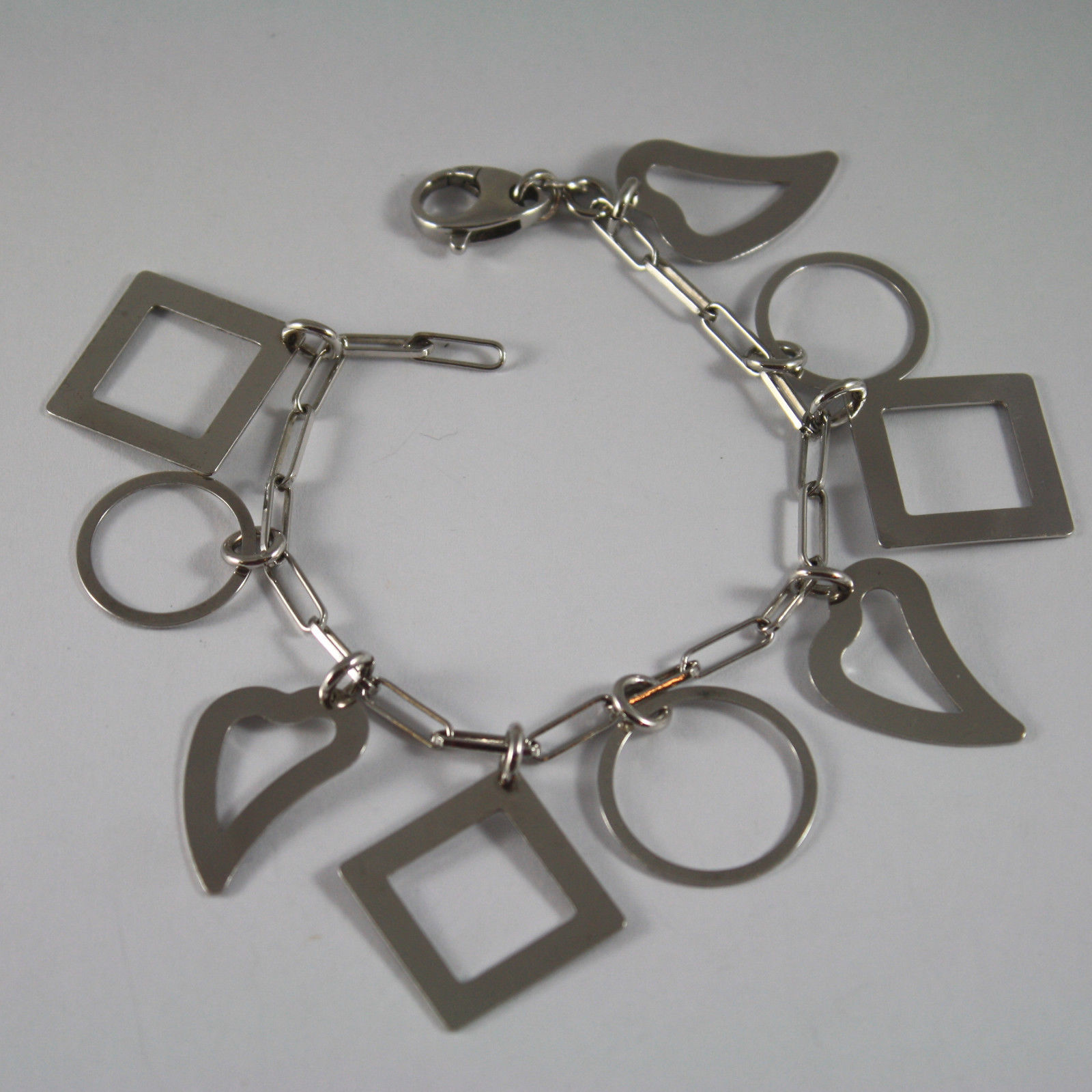 .925 RHODIUM SILVER BRACELET WITH GLOSSY HEARTS, CIRCLES AND SQUARE