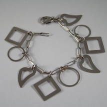 .925 RHODIUM SILVER BRACELET WITH GLOSSY HEARTS, CIRCLES AND SQUARE image 1
