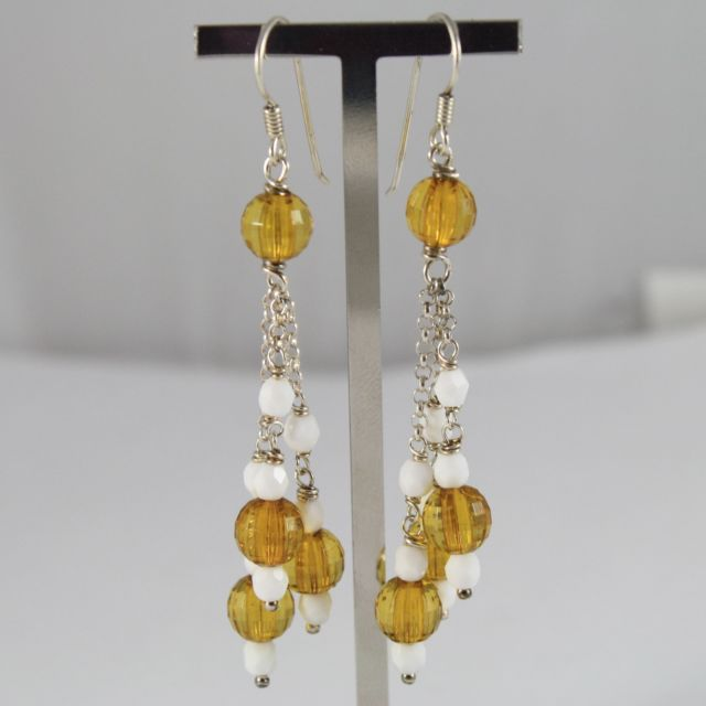 925 Silver Earrings Pendants with Agate White and Yellow Crystals