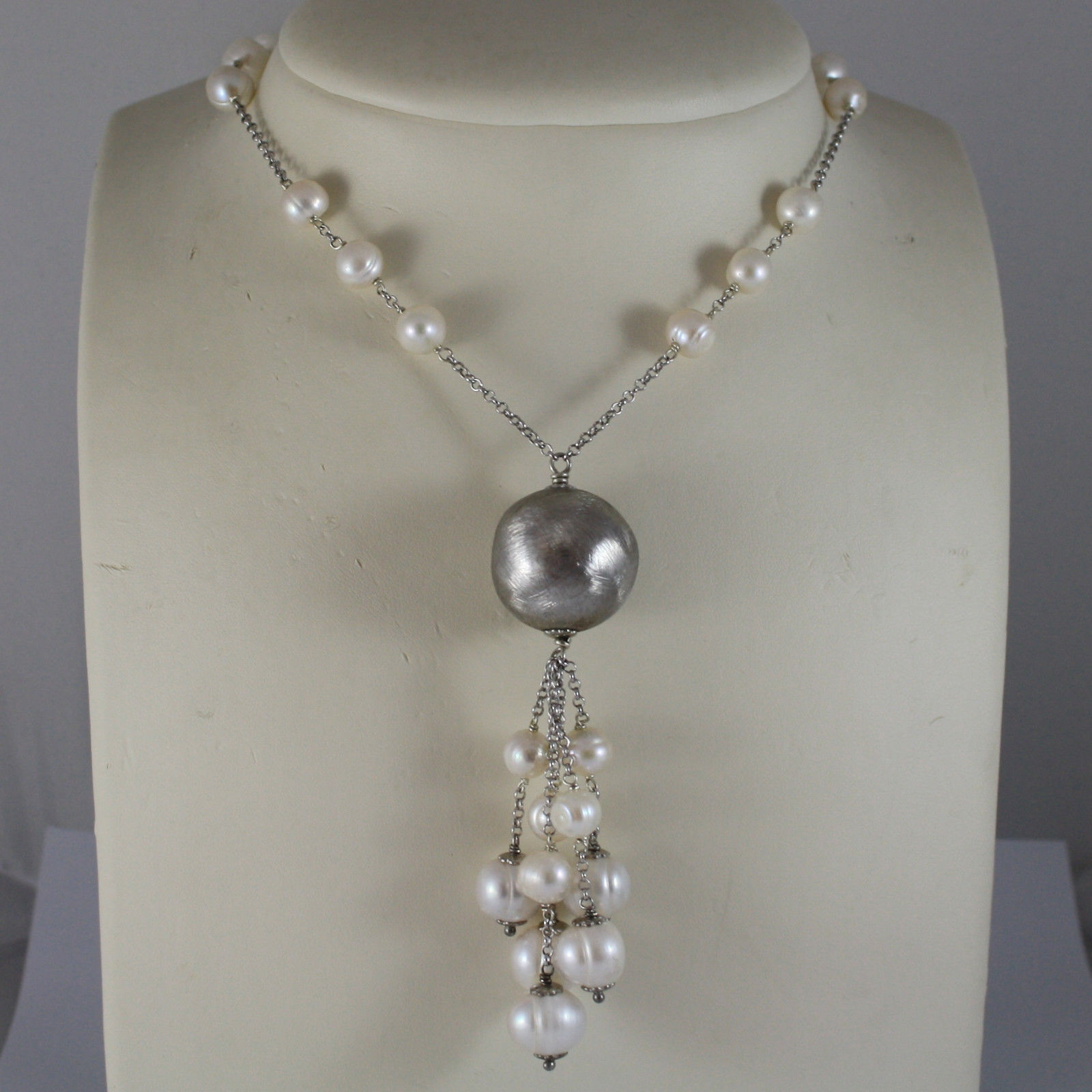 .925 RHODIUM SILVER LONG NECKLACE WITH WHITE FRESHWATER PEARLS AND SILVER BALL