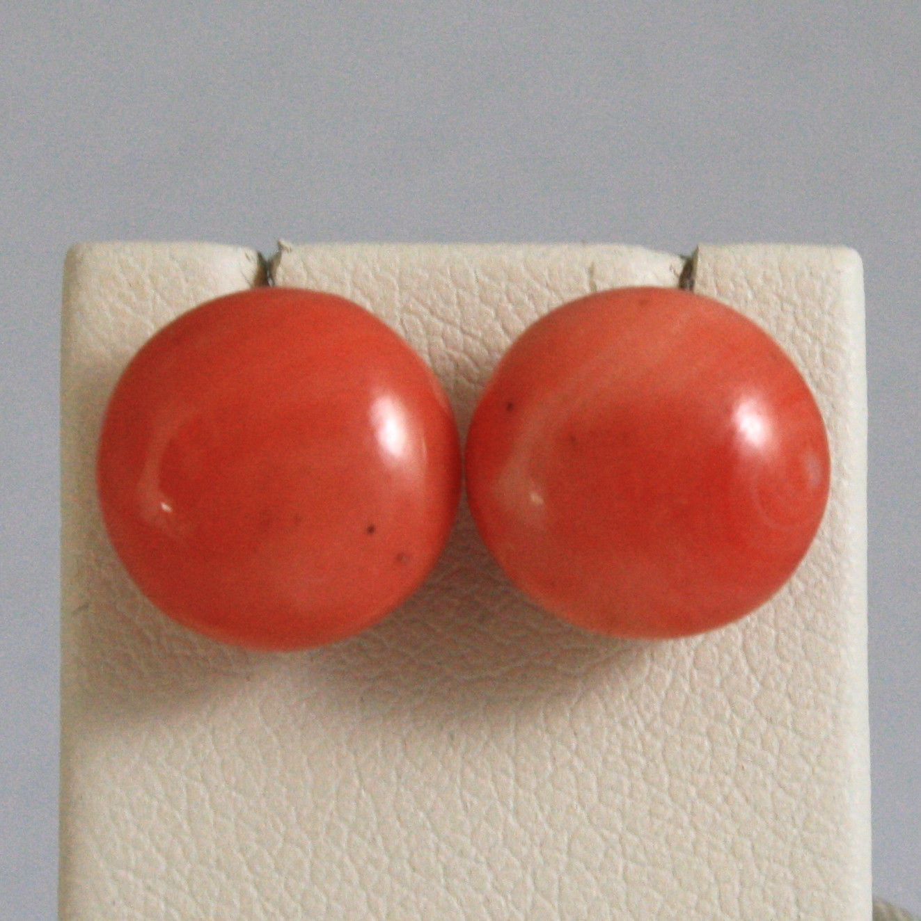 SOLID 18K YELLOW GOLD EARRINGS, WITH ORANGE CORAL BAMBOO, MADE IN ITALY