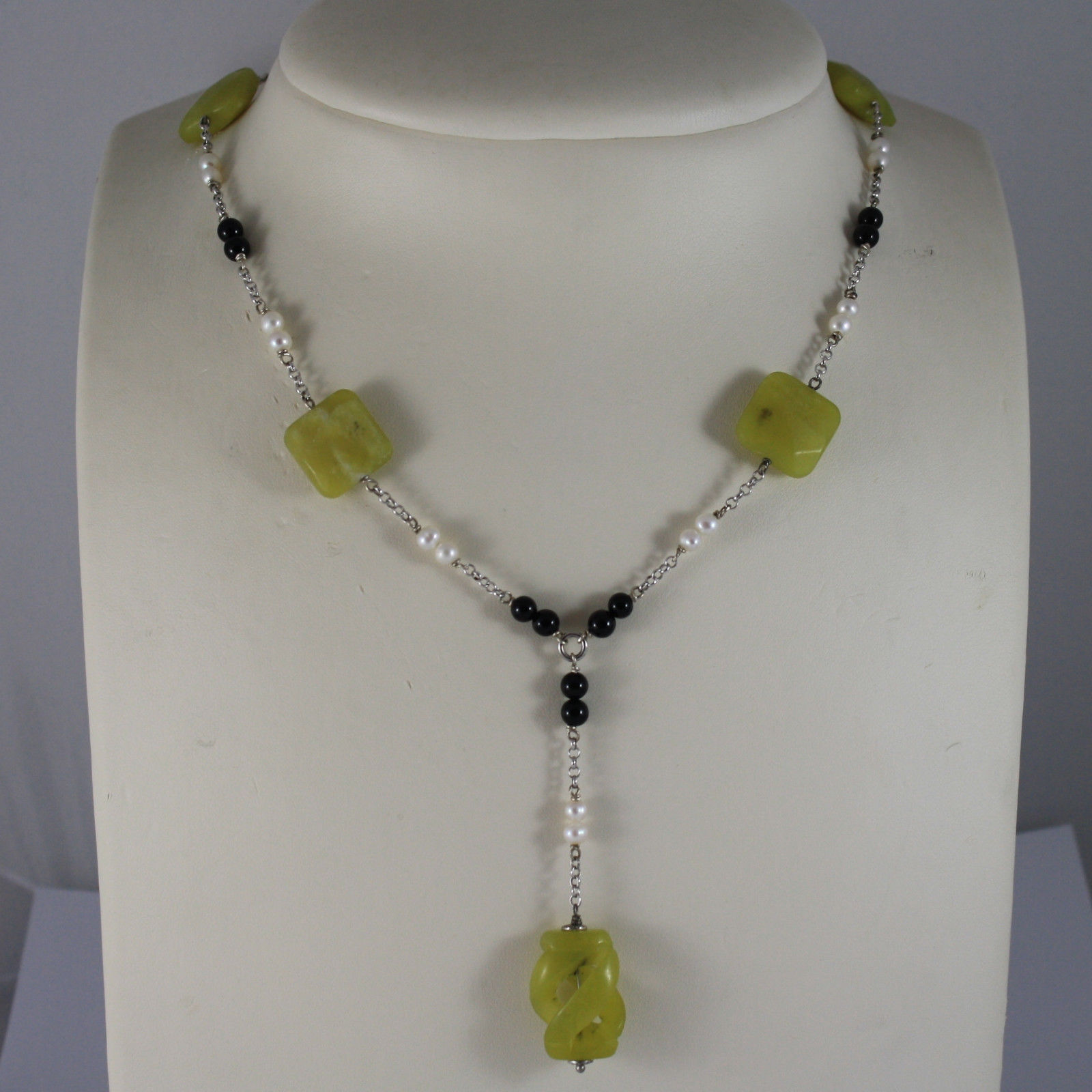 .925 RHODIUM SILVER NECKLACE WITH GREEN JASPER, BLACK ONYX AND WHITE PEARLS