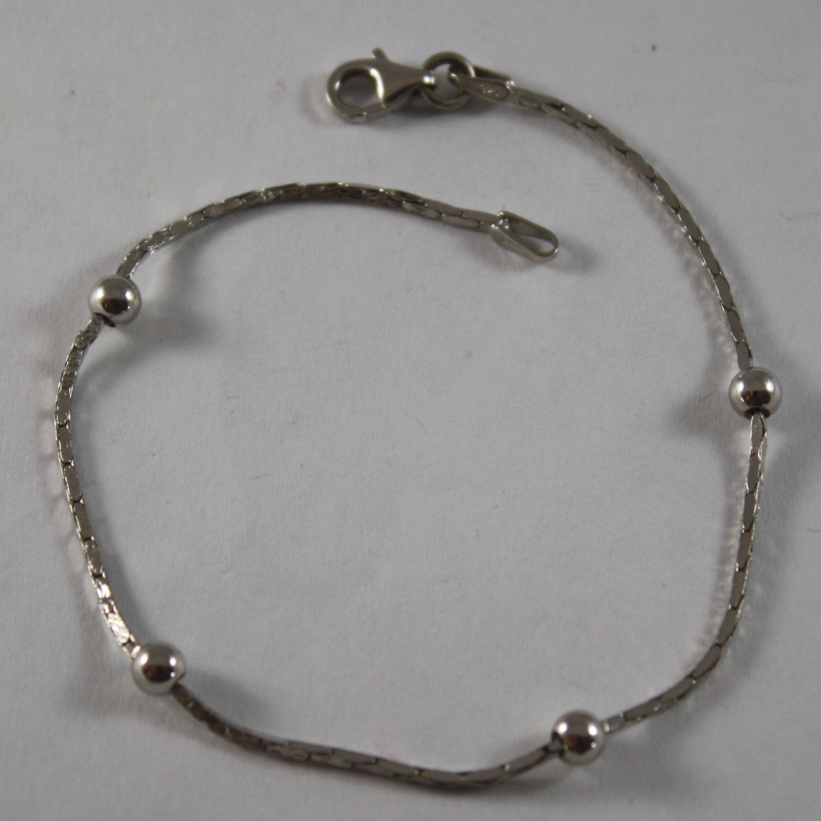 .925 RHODIUM SILVER BRACELET WITH SMALL SPHERE