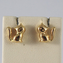 SOLID 18KT.YELLOW GOLD EARRINGS, WITH CATS, LENGTH 0,31 IN MADE IN ITALY.