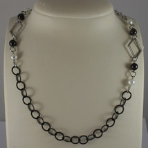 .925 SILVER RHODIUM BURNISHED NECKLACE WITH SYNTHETIC WHITE PEARLS AND RHOMBUS image 1