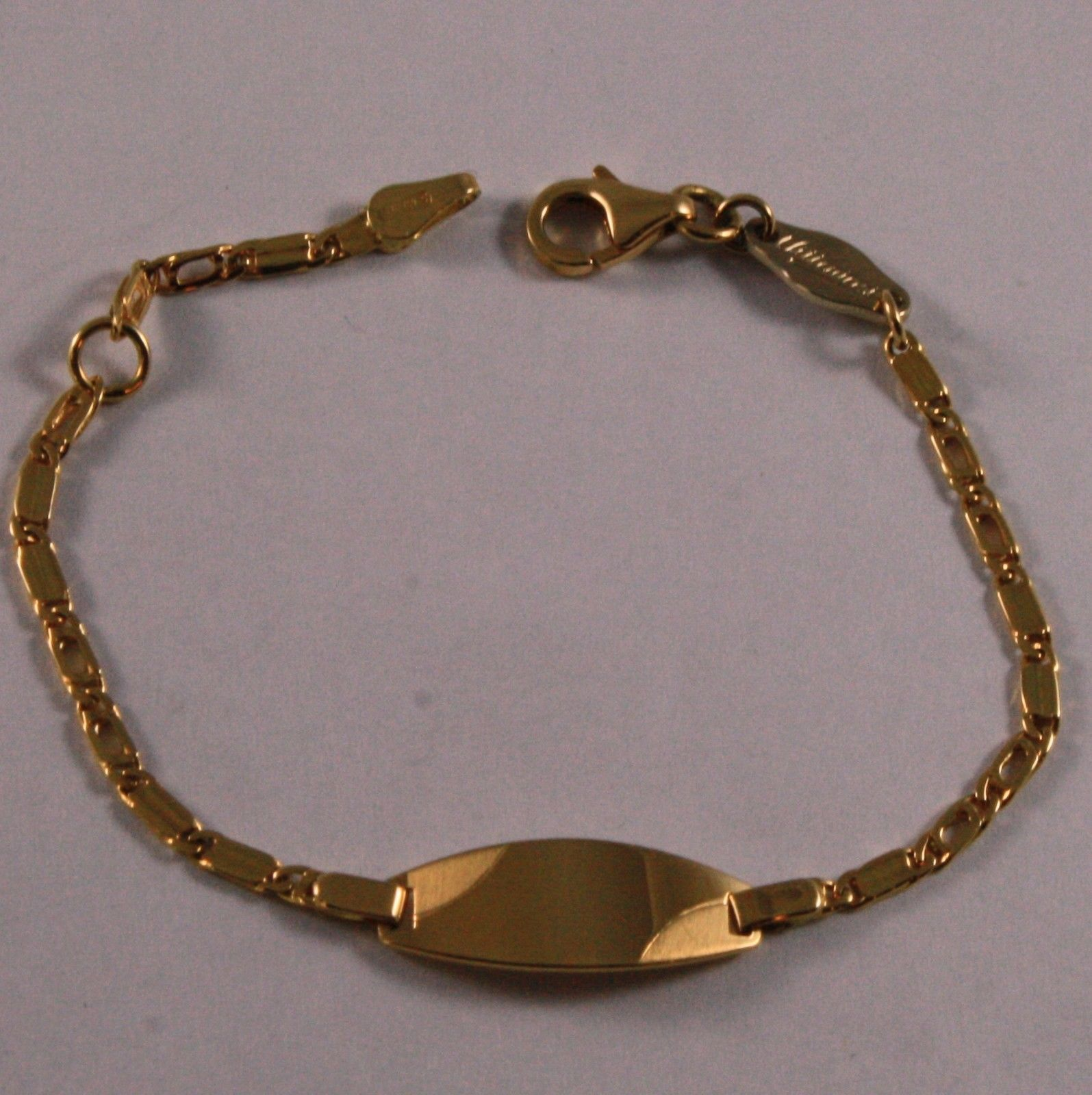 SOLID 18K YELLOW GOLD BRACELET, 5.7 INCHES, ENGRAVING OVAL PLATE, FOR CHILDREN.