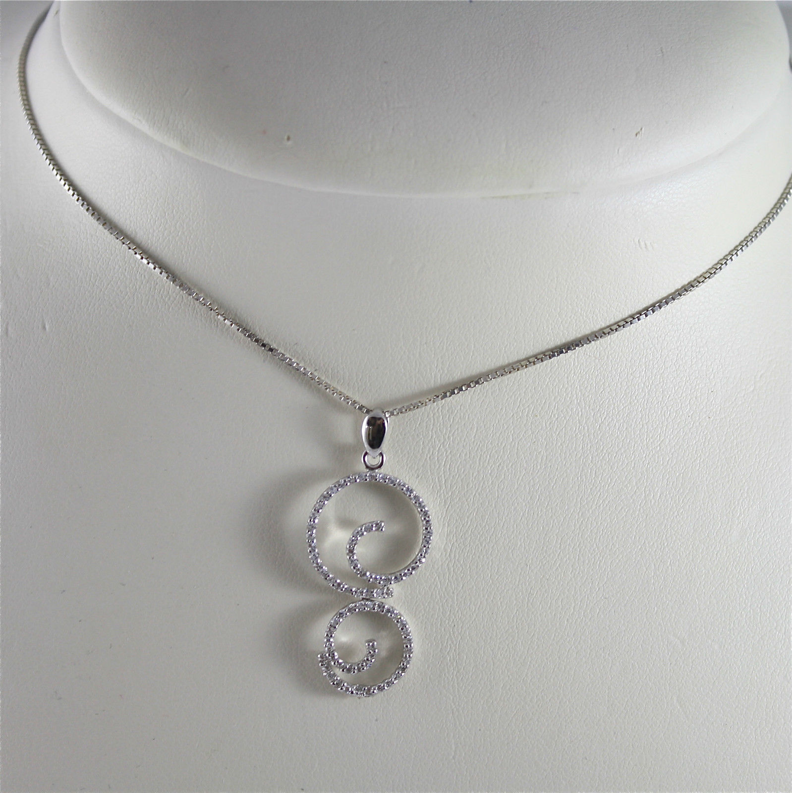 .925 RHODIUM SILVER NECKLACE WITH STYLIZED CURL PENDANT, EMBEDDED ZIRCONIA