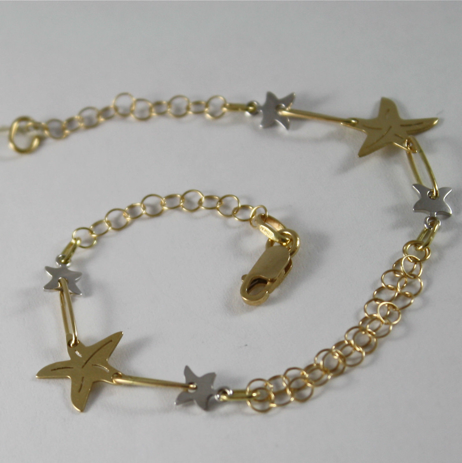 SOLID 18K YELLOW AND WHITE GOLD BRACELET, WITH STARS, STAR, MADE IN ITALY